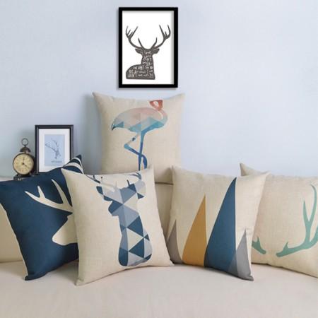 北极绒北欧棉麻抱枕几何鹿头棉麻沙发靠枕腰垫办公室座椅靠垫图片