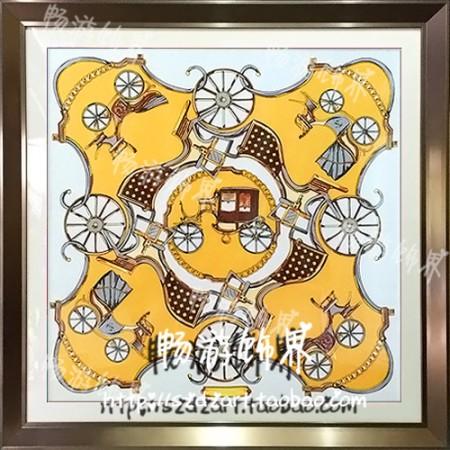 简约欧式样板房间会所酒店餐厅软装饰画橙黄色爱马仕丝巾时尚挂画