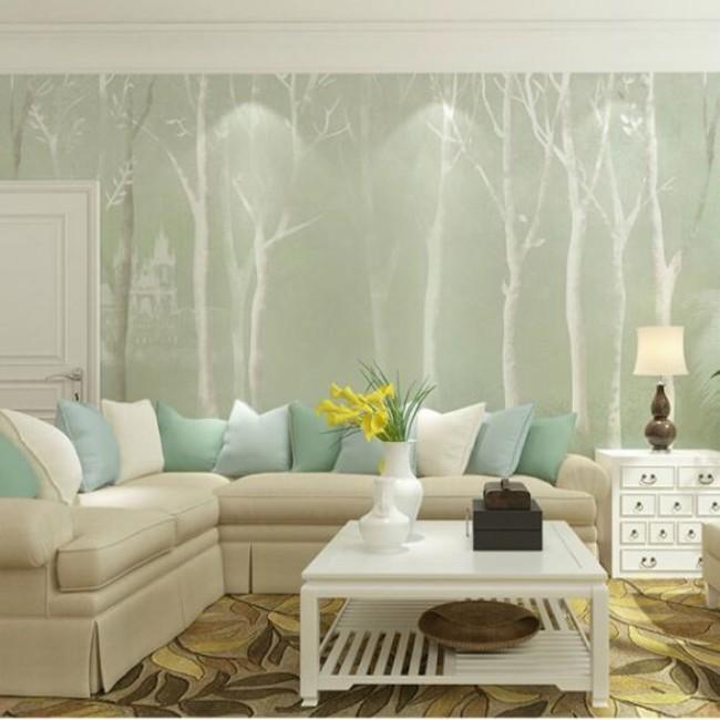 免胶水天洋墙布竹炭纤维无缝壁画高档壁布北欧卧室客厅背景墙定制图片