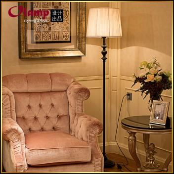 欧式落地灯 客厅卧室床头铁艺落地台灯 复古创意布艺灯落地灯