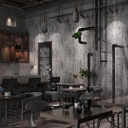 復古懷舊水泥墻素色灰色無紡布墻紙酒吧餐廳咖啡廳loft工業風壁紙