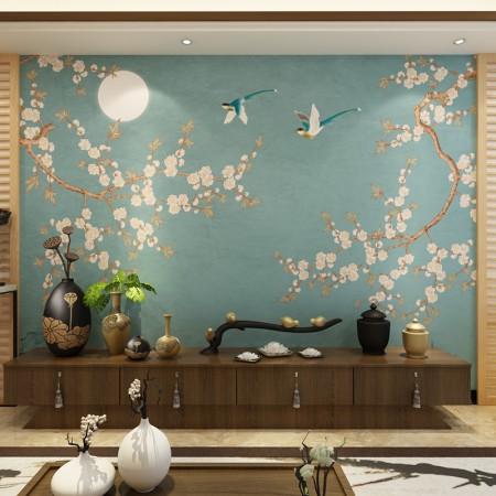 定制新中式沙发电视背景墙大型壁画客厅 无缝花鸟花卉墙纸壁纸图片