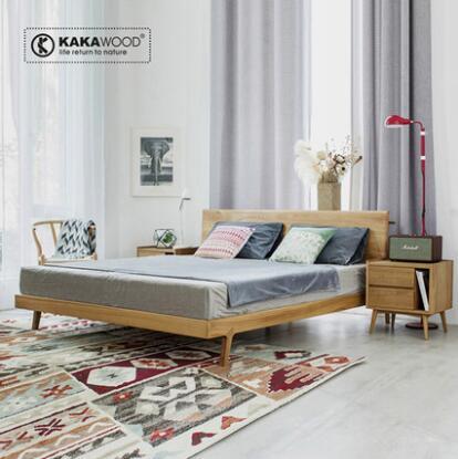 kakawood全实木床现代北欧风格双人床胡桃木原木榆木图片